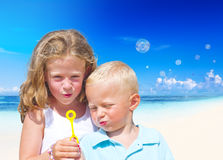 Summer Beach Family Fun Playful Concept.  Royalty Free Stock Image