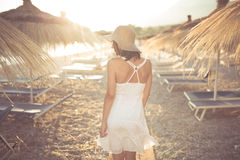 Summer beach fashion woman enjoying summer and sun.Concept of summer feeling,happiness Stock Photography