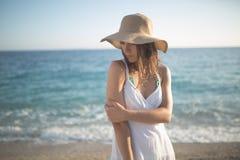 Summer beach fashion woman enjoying summer and sun.Concept of summer feeling,happiness Royalty Free Stock Photos