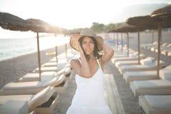 Summer beach fashion woman enjoying summer and sun.Concept of summer feeling,happiness Stock Photos
