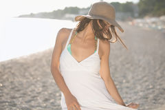 Summer beach fashion woman enjoying summer and sun.Concept of summer feeling,happiness Royalty Free Stock Photography