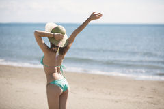 Summer beach fashion woman enjoying summer and sun.Concept of summer feeling,happiness Stock Images