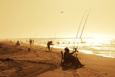 Summer Beach Fishing Royalty Free Stock Photos