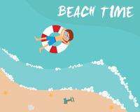 Summer beach in flat design, aerial view, sea side Royalty Free Stock Image