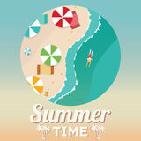 Summer beach in flat design, aerial view, sea side and umbrellas, vector illustration Royalty Free Stock Photo