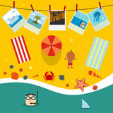 Summer beach in flat design Stock Photos