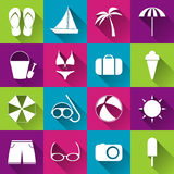 Summer beach flat icons Royalty Free Stock Photography