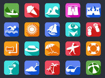 Summer beach flat icons set with long shadow vector illustration