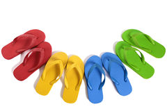 Summer beach flip flops row isolated on white background Royalty Free Stock Photo