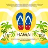 Summer Beach Flip-flops Sand Hawaii Flag Color Royalty Free Stock Photography