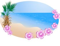 Summer beach in frame Royalty Free Stock Images