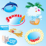 Summer beach frames and elements set Stock Photos