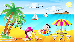 Summer Beach Fun Vector Illustration Stock Images
