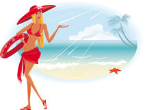 Summer beach girl Stock Images
