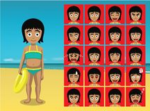Summer Beach Girl Cartoon Emotion faces Vector Illustration Royalty Free Stock Images
