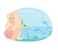 Summer beach girl Royalty Free Stock Photo