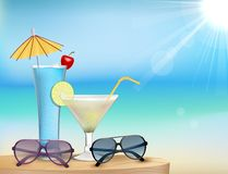 Summer in beach with glasses and drink Stock Photography