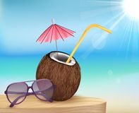 Summer beach, glasses with young coconut Stock Images