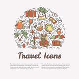 Summer and beach hand draw icon concept. Travel summer icons collection in round form with cartoon decorative elements. Coconut, surfing boat, sand, ice cream Stock Image
