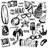 Summer beach hand drawn doodle vector symbols and objects with lettering. Royalty Free Stock Photos