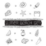 Summer beach hand drawn vector symbols and objects. Vector Stock Photography