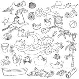 Summer beach hand drawn vector symbols and objects Royalty Free Stock Photos