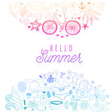 Summer beach hand drawn vector travel vacation doodle elements Royalty Free Stock Image