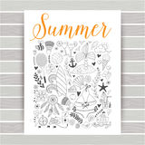 Summer beach hand drawn vector travel vacation doodle elements Royalty Free Stock Photos
