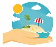 Summer Beach. Hands holding summer beach globe Stock Photos