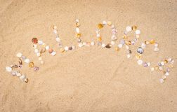 Summer beach holiday on Mallorca, Spain Balearic Islands. Word Mallorca writing with seashells on sandy beach, top view, copy space Royalty Free Stock Photography