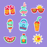 Summer Beach Holidays Stickers With Text Collection stock illustration