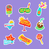 Summer Beach Holidays Stickers With Text Set Stock Photos