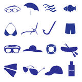 Summer and beach icon set eps10. Blue summer and beach icon set eps10 Vector Illustration