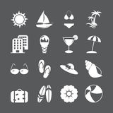 Summer beach icon set, vector eps10 Stock Images