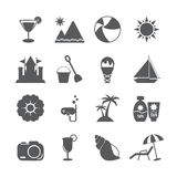 Summer beach icon set, vector eps10 Royalty Free Stock Image