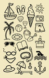 Summer Beach Icon Sketches Stock Photos