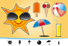 Summer and beach icons. 6 summer and beach icons and symbols Stock Photo