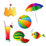 Summer and beach icons Royalty Free Stock Images