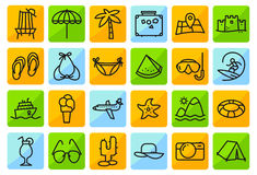 Summer beach icons set in line thin and simply style. Pictogram Royalty Free Stock Image