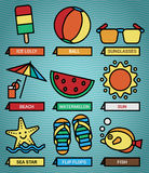 Summer beach icons set Stock Image