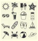 Summer beach icons set Royalty Free Stock Photo