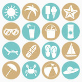 Summer beach icons set Stock Photo