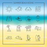 Summer beach icons. Travel, tourism and vacation icons vector Royalty Free Illustration