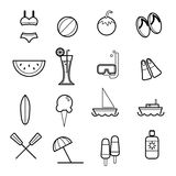 Summer beach icons vector illustration Stock Images