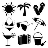 Summer and beach icons on white background. Vector illustration Royalty Free Stock Images