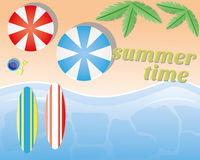 Summer beach. Summer in the beach illustration Stock Photo