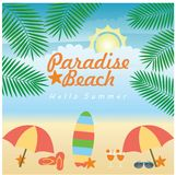Summer beach illustration. Beach illustration in summer day Royalty Free Stock Photography