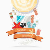 Summer beach illustration. With an overhead view of a beach umbrella surrounded by slip slops, starfish, photographs, sunglasses and iced with a colorful banner Royalty Free Stock Photo