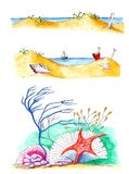 Summer beach illustrations isolated over white Royalty Free Stock Photos
