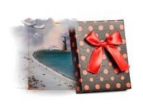 Summer beach inside gift box Stock Photo